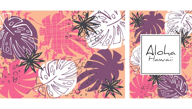 熱帯の葉のシームレスなパターン、手描きの水彩ベクトル図。熱帯植物が印刷されます。夏のデザイン。