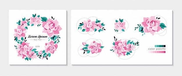 サークル花のフレーム、花輪、およびデザイン要素