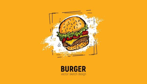 手で描かれたハンバーガー