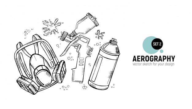 航空写真ツールの手描き。
