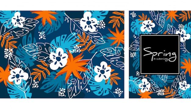 熱帯のジャングルの葉と花のシームレスパターン
