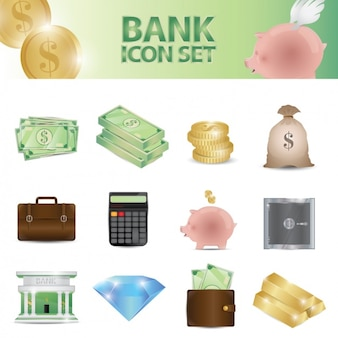 Комплект банка иконки