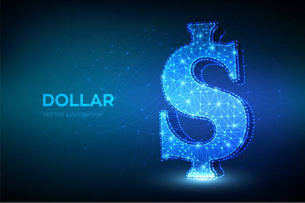 Доллар. низкий многоугольной абстрактный знак доллара сша. значок валюты сша.