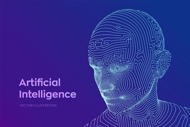 Абстрактное каркасное цифровое человеческое лицо. голова человека в роботе цифровой компьютерной интерпретации