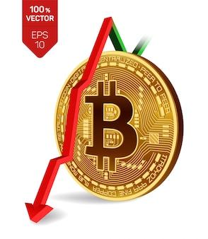 Биткойн с красной стрелкой вниз. на биржевом рынке рейтинг биткойн-индекса понизился.