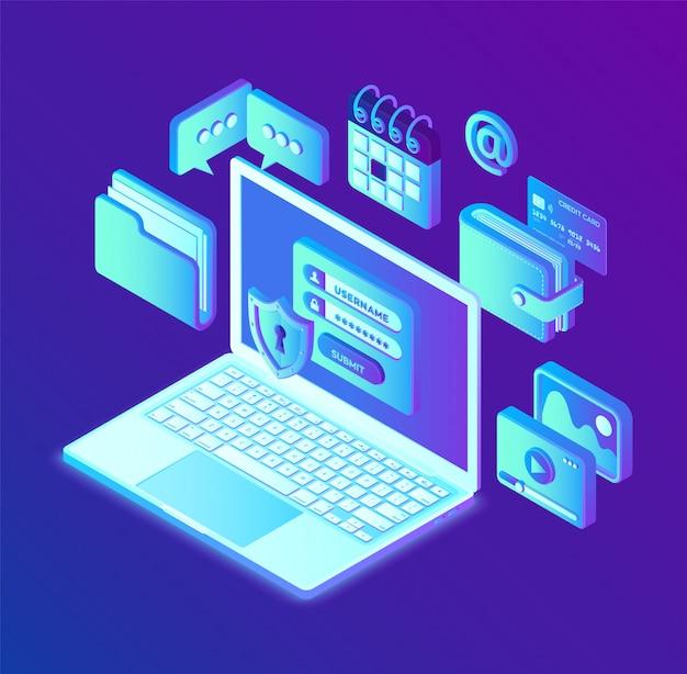データ保護。画面上の認証フォーム、個人データ保護を備えたノートパソコンを開きます。データアクセス、ラップトップ画面のログインフォーム。
