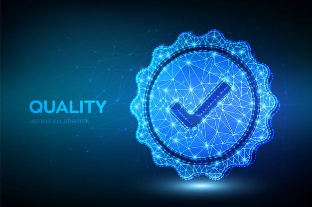 Качество. низкий полигональный значок проверки качества. сертификат соответствия стандарту контроля качества.