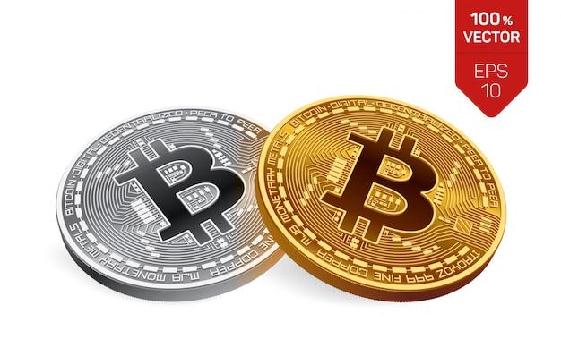 ビットコイン。分離されたビットコインと黄金と銀のコイン。暗号通貨。