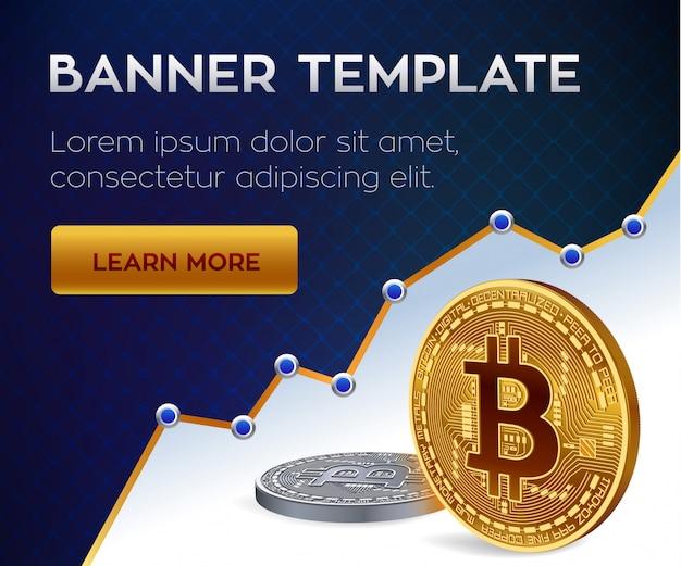 暗号通貨の編集可能なバナーテンプレート。ビットコイン。黄金と銀のビットコインコイン。
