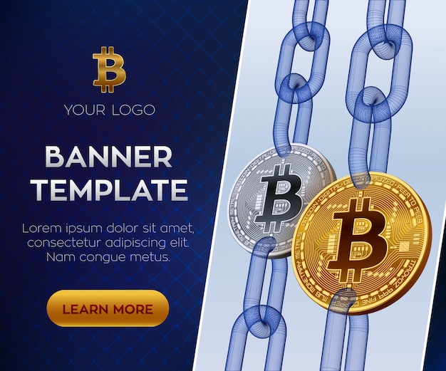 暗号通貨の編集可能なバナーテンプレート。ビットコイン。ワイヤーフレームチェーン付きの黄金と銀のビットコインコイン。