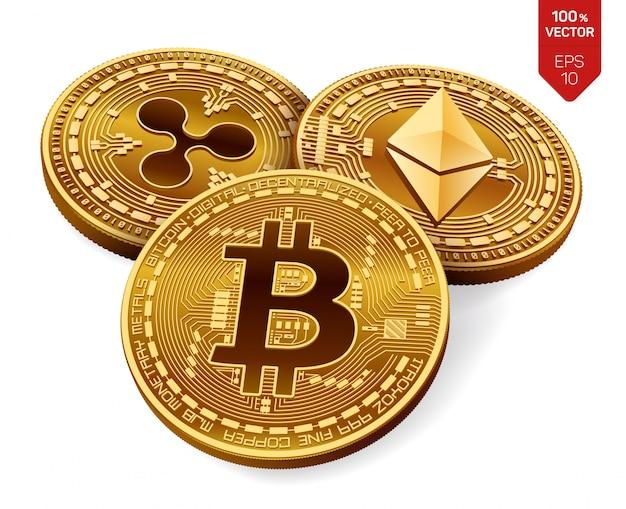 ビットコイン。リップル。イーサリアム。物理的な黄金のコイン。暗号通貨。