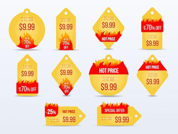 ホット価格ラベル。特別オファー販売タグ。