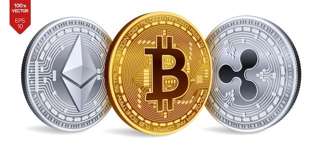 ビットコイン。リップル。イーサリアム。暗号通貨。