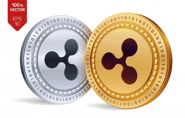 リップル。分離されたリップルと黄金と銀のコイン。暗号通貨。
