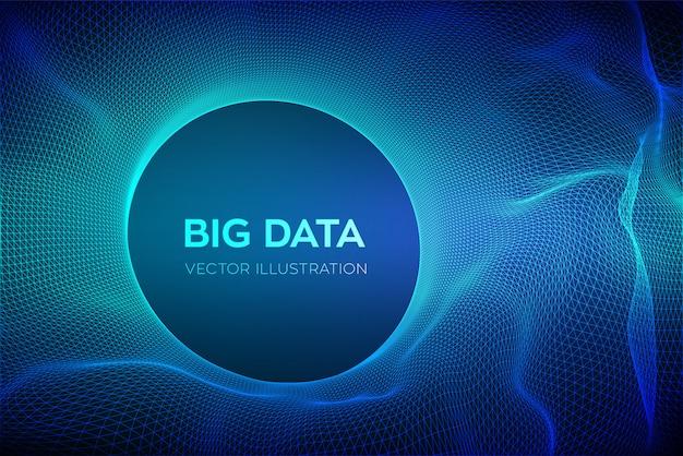 ビッグデータ科学の抽象的な背景。サークルグリッド波。