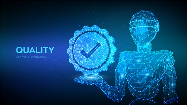 品質。標準品質管理認証保証。品質アイコンチェックを保持している抽象的なロボット。
