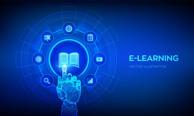 Электронное обучение. инновационное онлайн-образование и интернет-технологии. роботизированная рука трогательно цифровой интерфейс.