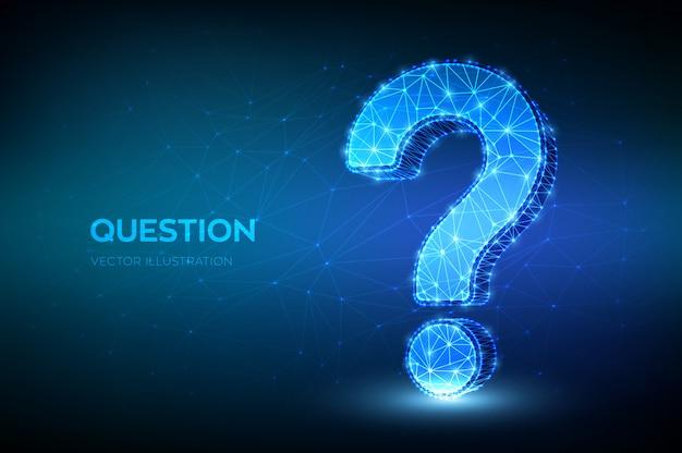 低多角形の抽象的な疑問符。シンボルを尋ねます。ヘルプサポート。よくある質問。