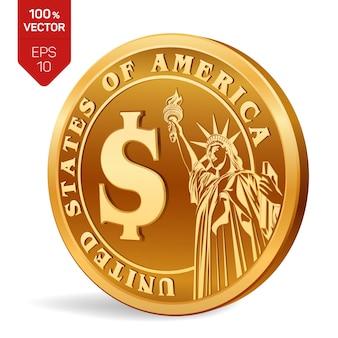 Долларовая монета. золотая монета с символом доллара на белом