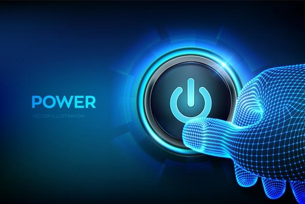 電源スイッチ。電源ボタンを押すクローズアップ指。ボタンを押すだけです。ハードウェア機器。図。