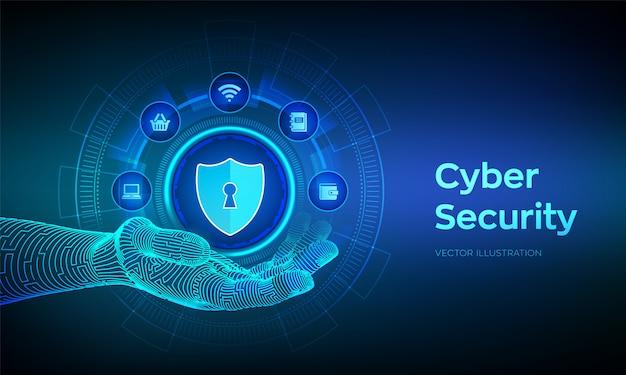 Информационная безопасность. защита данных бизнеса на виртуальном экране. значок защиты щита в роботизированной руке. антивирусный интерфейс. роботизированная рука трогательно цифровой интерфейс. иллюстрации.