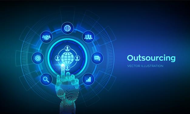 アウトソーシングと人事。ソーシャルネットワークとグローバルな採用。グローバルリクルートメントビジネスと仮想画面上のインターネット。デジタルインターフェイスに触れるロボットの手。図。