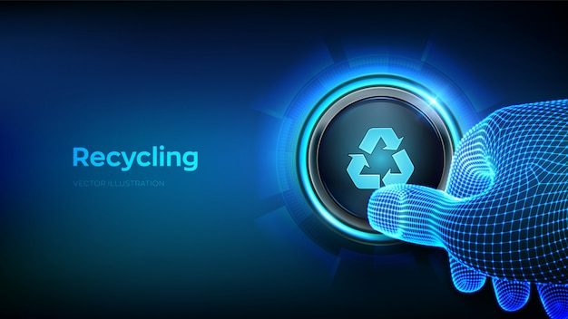 約記号をリサイクルボタンを押すクローズアップ指。