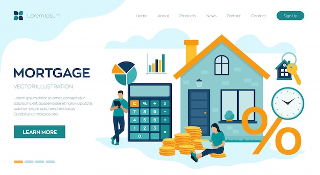 住宅ローンの概念のランディングページ。不動産への住宅ローンまたはお金の投資。