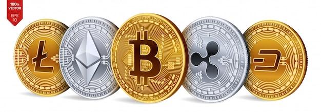 ビットコイン、リップル、イーサリアム、ダッシュ、ライトコインのシンボルを持つ黄金と銀のコイン。暗号通貨。