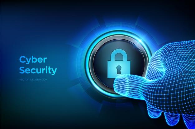 サイバーセキュリティ。ロックシンボルとボタンを押す約クローズアップ指。