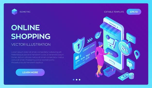 Покупки онлайн на сайте или в мобильном приложении. изометрическая концепция.