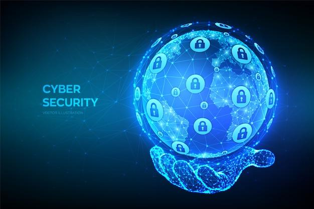 サイバーセキュリティ。手で多角形の地球惑星地球を抽象化します。サイバーデータセキュリティまたはネットワークセキュリティのアイデア。