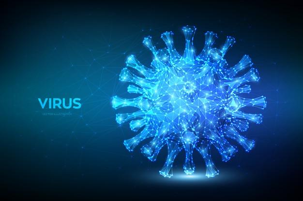 コロナウイルス低ポリ抽象的な概念。ウイルス細胞の顕微鏡ビューをクローズアップ。