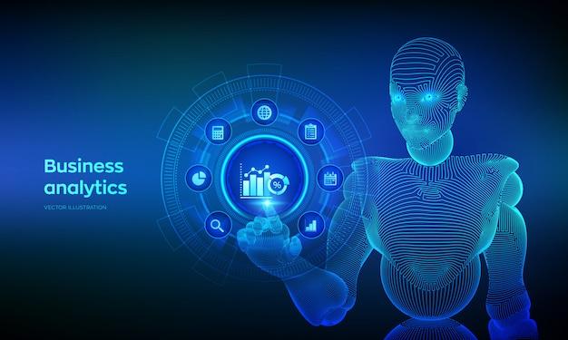 ビジネスデータ分析と仮想画面上のロボットプロセス自動化の概念。デジタルインターフェイスに触れるロボット。