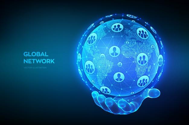 Концепция глобальной сети связи. точка карты мира и состав линии. земной шар в каркасной руке.