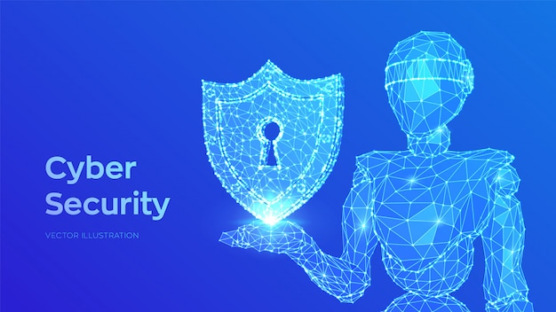 サイバーセキュリティの概念。鍵穴付きシールド。インターネットボットとサイバーセキュリティ。セキュリティを保持している抽象的なロボット
