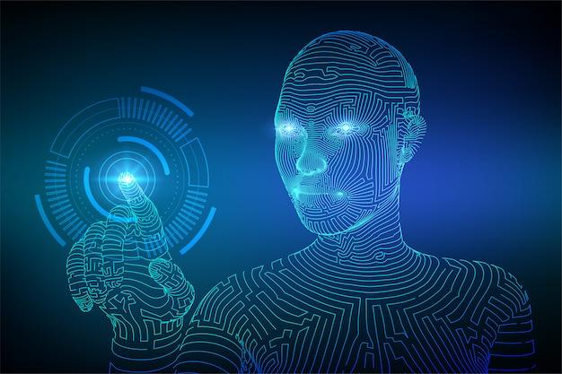 デジタルインターフェイスの背景に触れるロボットの手