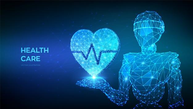 医療、医学、循環器のコンセプトです。ハートビートラインと心を手で保持している抽象的な低多角形ロボット。