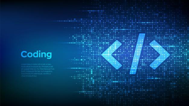 バイナリコードで作成されたプログラミングコード。コーディングまたはハッカーの背景。デジタルバイナリデータとストリーミングデジタルコード。