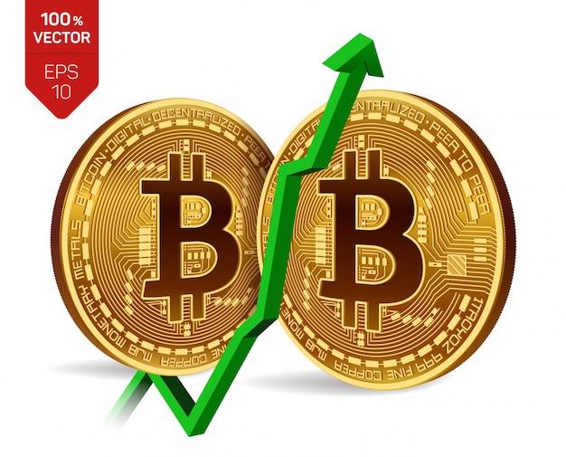 緑の矢印を上にしたビットコイン。ビットコインのインデックス評価は、為替市場で上昇します。