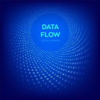データフロー。デジタルコード。バイナリデータフロー。仮想トンネルワープ。