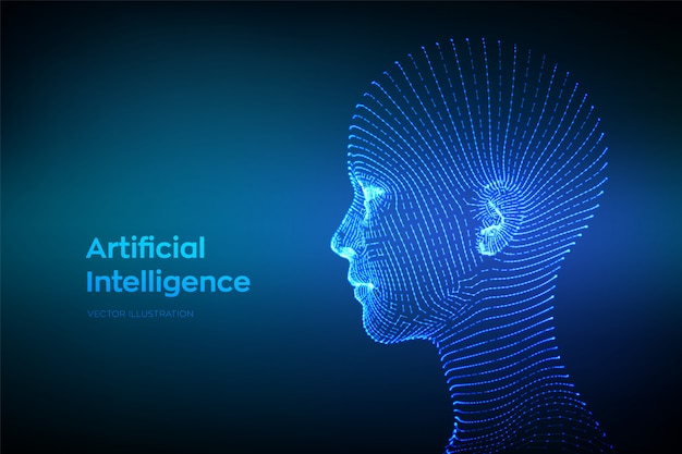 抽象的なワイヤーフレームデジタル人間の顔。ロボットデジタルコンピューターの解釈の人間の頭