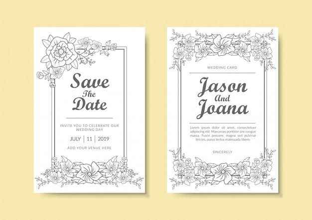 花の結婚式の招待状のテンプレート。