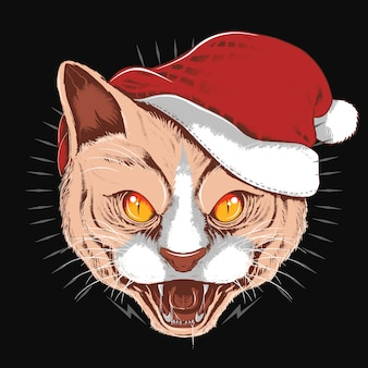 Сердитый кот санта клаус рождественская шапка