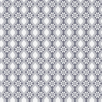 手作りのクロスステッチエスニックのような伝統的なスタイルでシームレスな刺繍ベクトル装飾的な植物花パターン。幾何学的なデザイン