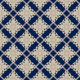 青、タイの芸術、タイのパターンにシームレスラインタイゴールドパターン。