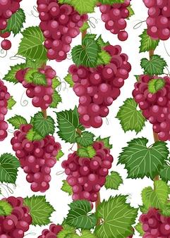ブドウのつるのシームレスなパターンと葉