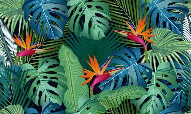 楽園の鳥と熱帯の葉のシームレスパターン