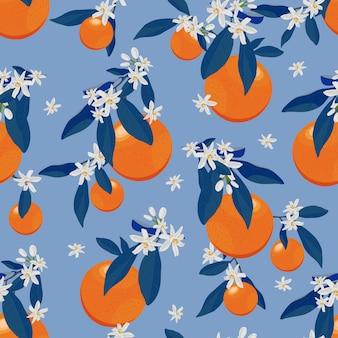 花と青い葉を持つオレンジ色の果物のシームレスパターン