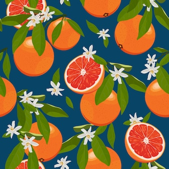 花と葉を持つシームレスパターンオレンジ色の果物
